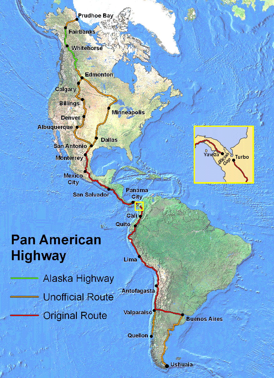 map of the pan american highway