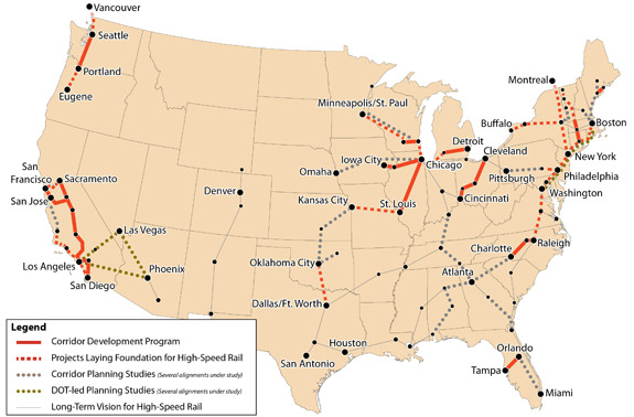 USA Highspeed Rail Map 2012